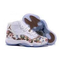 "2016 Girls Air Jordan 11 ""Floral Flower"" White Brown Shoes For Sale"