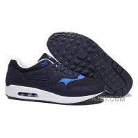 Discount Nike Air Max 1 Mens Shoes Trainers Obsidian Hyper Blue White