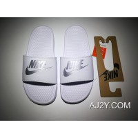 Women/Men Outlet Right Zhilong Slides Nike Benassi Swoosh Slides All White